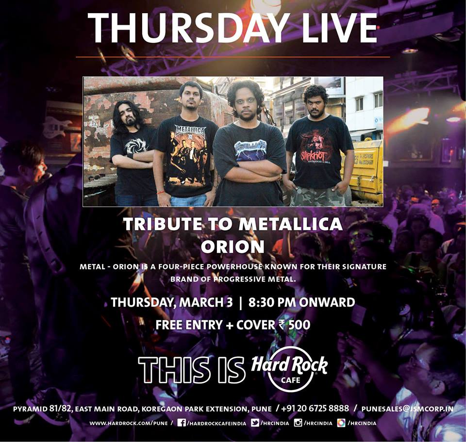 Tribute to Metallica by Orion at Hard Rock Cafe Pune
