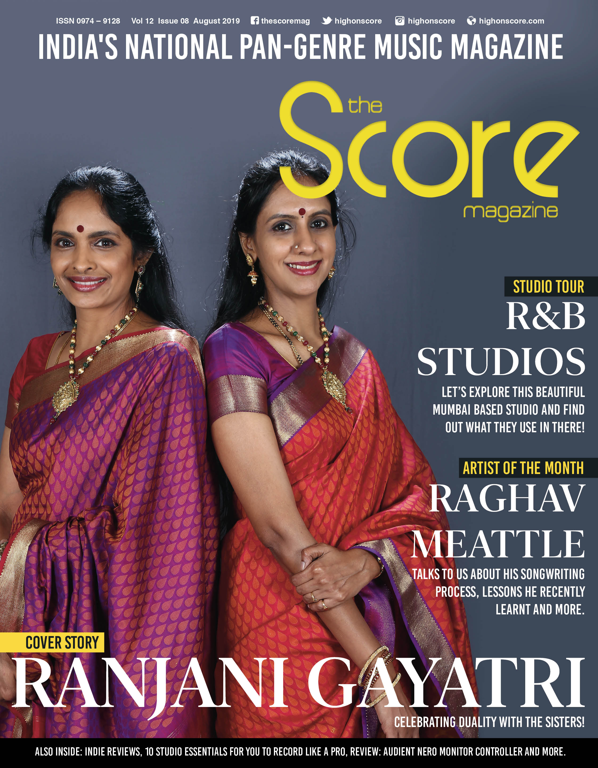 August 2019 issue featuring Ranjani-Gayatri on the cover